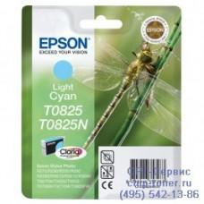Картридж Epson T0825 светло-голубой, оригинальный для Epson Stylus Photo R270 / R290 / R390 / RX590 / RX610 / RX690 (C13T11254A10), ресурс 410 страниц