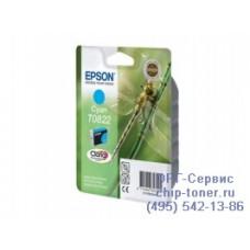 Картридж Epson T0822 голубой, оригинальный для Epson Stylus Photo R270 / R290 / R390 / RX590 / RX610 / RX690 (C13T11224A10), ресурс 460 страниц