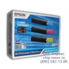 Комплект оригинальных тонер-картриджей Epson C13S050287 для Epson AcuLaser C1100 / CX11 / CX21 (3 картриджа: синий, желтый, красный)