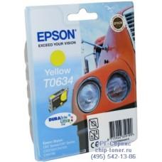 Картридж Epson T0634 желтый, оригинальный для Epson Stylus C67 / C87 / CX3700 / CX4100 / CX4700 (C13T06344A10), ресурс 420 страниц