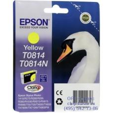 Картридж Epson T0814 желтый, оригинальный повышенного объема для Epson Stylus R270 / R290 / R390 / RX590 / RX610 / RX690 (C13T11134A10), ресурс 890 страниц
