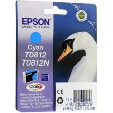 Картридж Epson T0812 голубой, оригинальный повышенного объема для Epson Stylus R270 / R290 / R390 / RX590 / RX610 / RX690 (C13T08124A), ресурс 1475 страниц