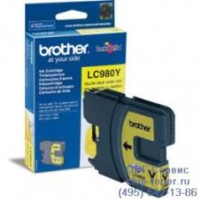 Оригинальный струйный картридж Brother LC980Y желтый, для Brother DCP-145C / DCP-163C / DCP-165C / DCP-167C / DCP-195C / DCP-197C / DCP-365CN / DCP-375CW / DCP-377CW, MFC-250C / MFC-255CW / MFC-257CW / MFC-290C / MFC-295CN / MFC-297C. Ресурс: 260 стр. п