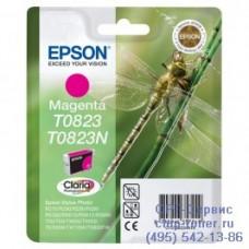 Картридж Epson T0823 пурпурный, оригинальный для Epson Stylus Photo R270 / R290 / R390 / RX590 / RX610 / RX690 (C13T11234A10), ресурс 460 страниц