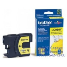 Чернильный оригинальный картридж Brother LC980Y, желтого цвета,совместимость: Brother DCP-145C / 165C, ресурс : 260 страниц формата A4 при 5% заполнении